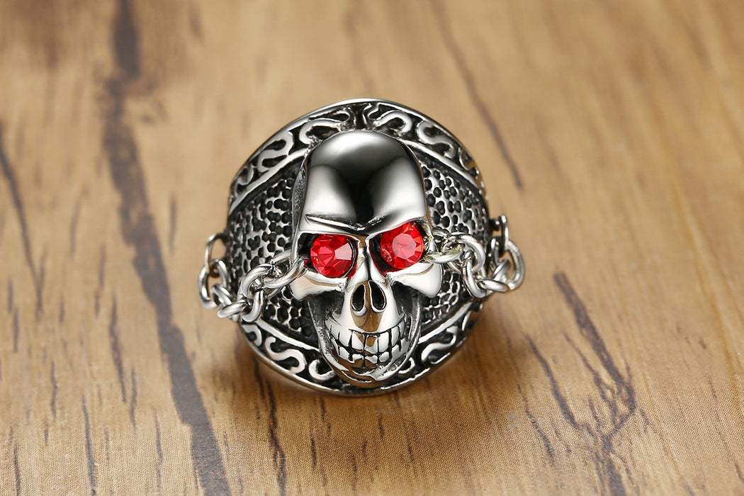 Men's chain rhinestone skull stainless steel ring - For Bikers