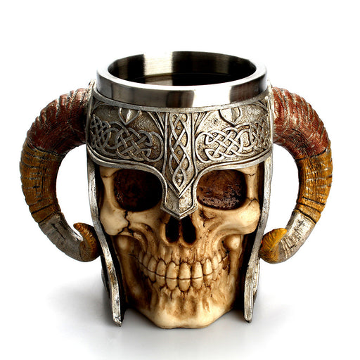 Double handle large horn stainless steel skull cup