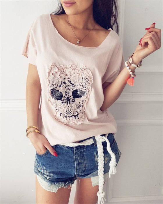 Skull Lace Decorative T-Shirt