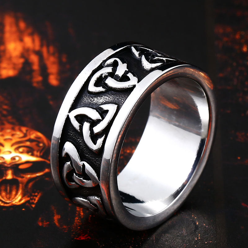 Warrior TRIQUETRA Titanium Steel Viking Ring