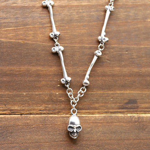 Punk Skull Head Sterling Silver 925 Necklace