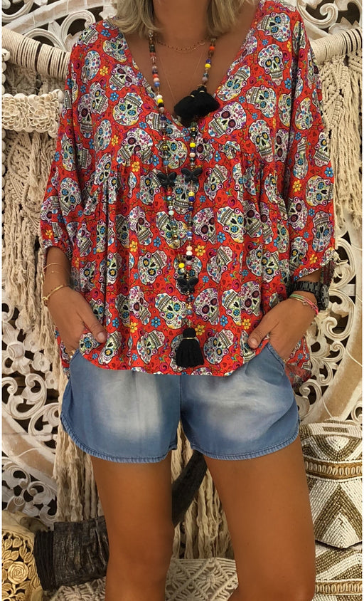 Sugar  Skull Skeleton Boho Oversized Shirt