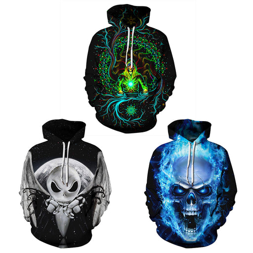 Skull digital print plus-size baseball hoodie for lovers
