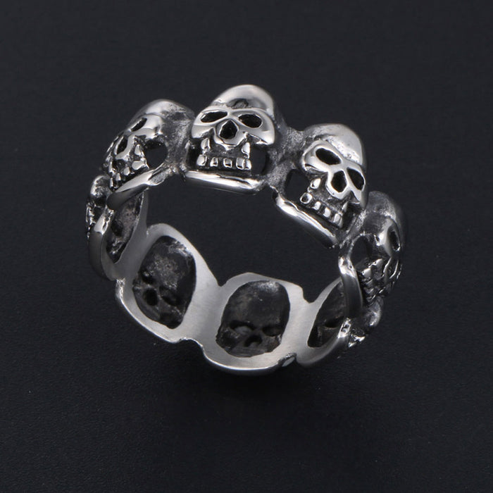 Men's personality alternative stainless steel single ring - retro gothic skull ring