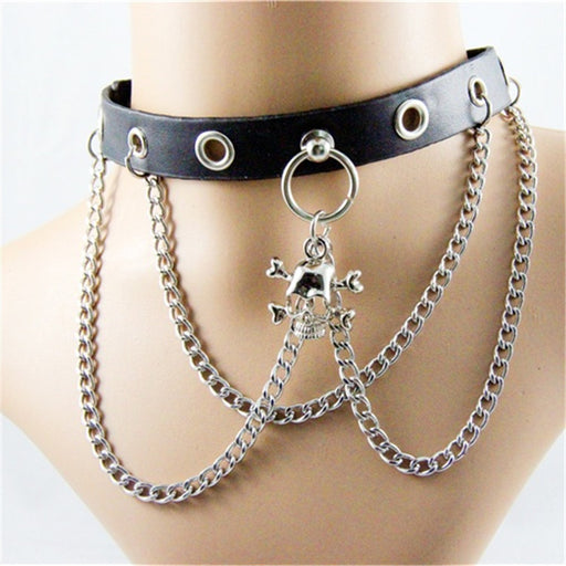 Punk skull metal chain choker