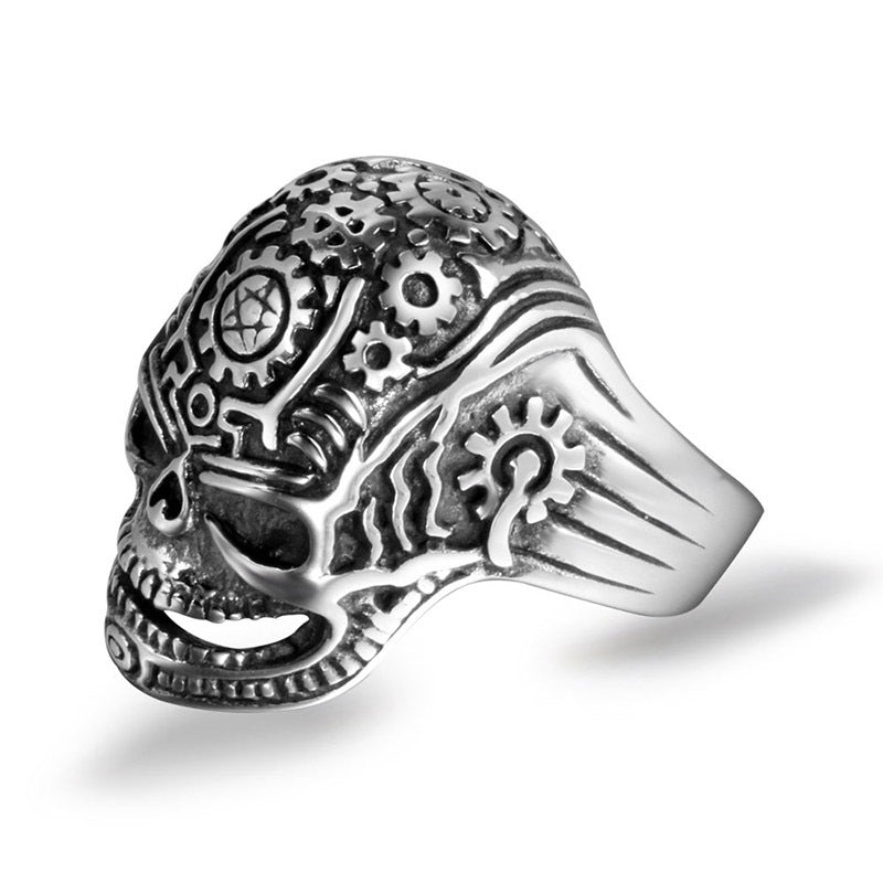 Retro skull hunk gears men's stainless steel rings