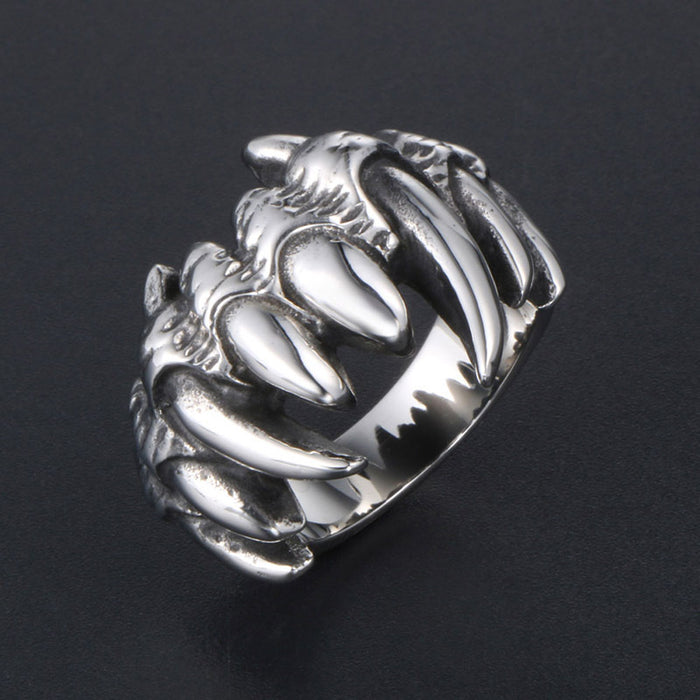 Retro titanium steel skull ring