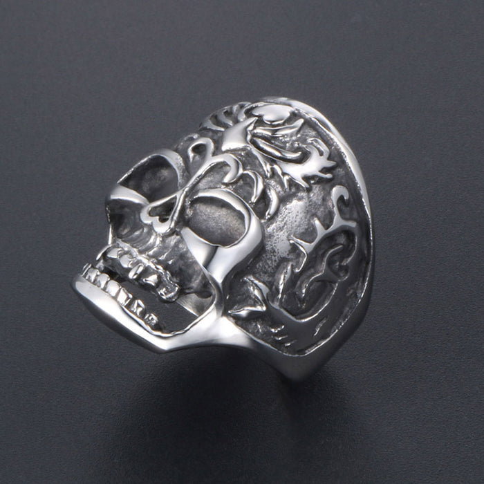 Personality men's domineering flame skull  Stainless steel ring