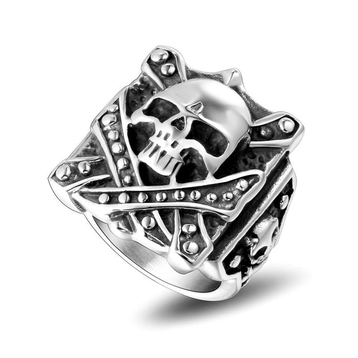 Personality square men's skull stainless steel ring