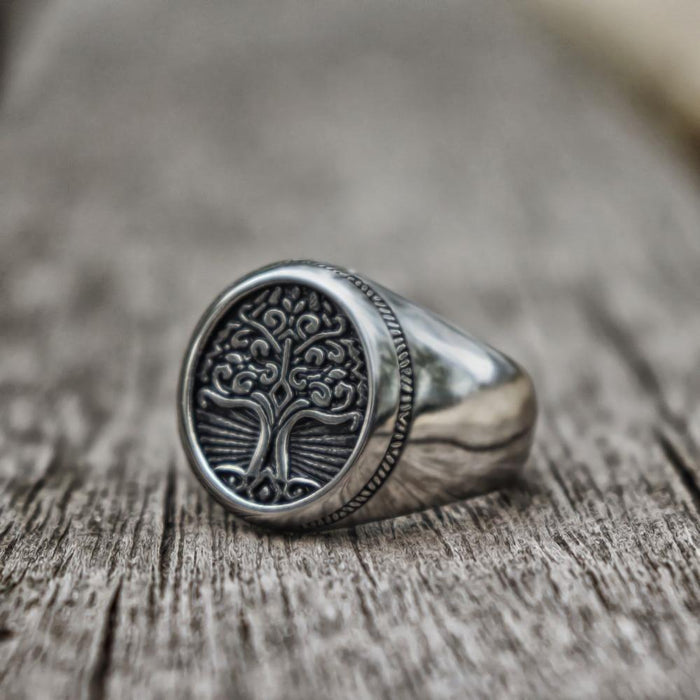 Tree of Life Insignia Titanium Steel Viking Ring