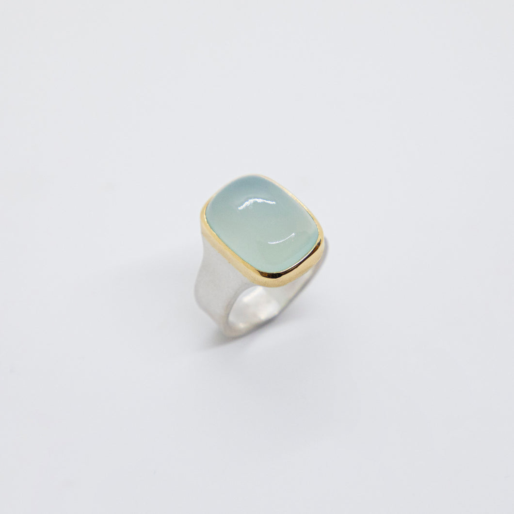 CHALCEDONY STERLING SILVER 18K RING