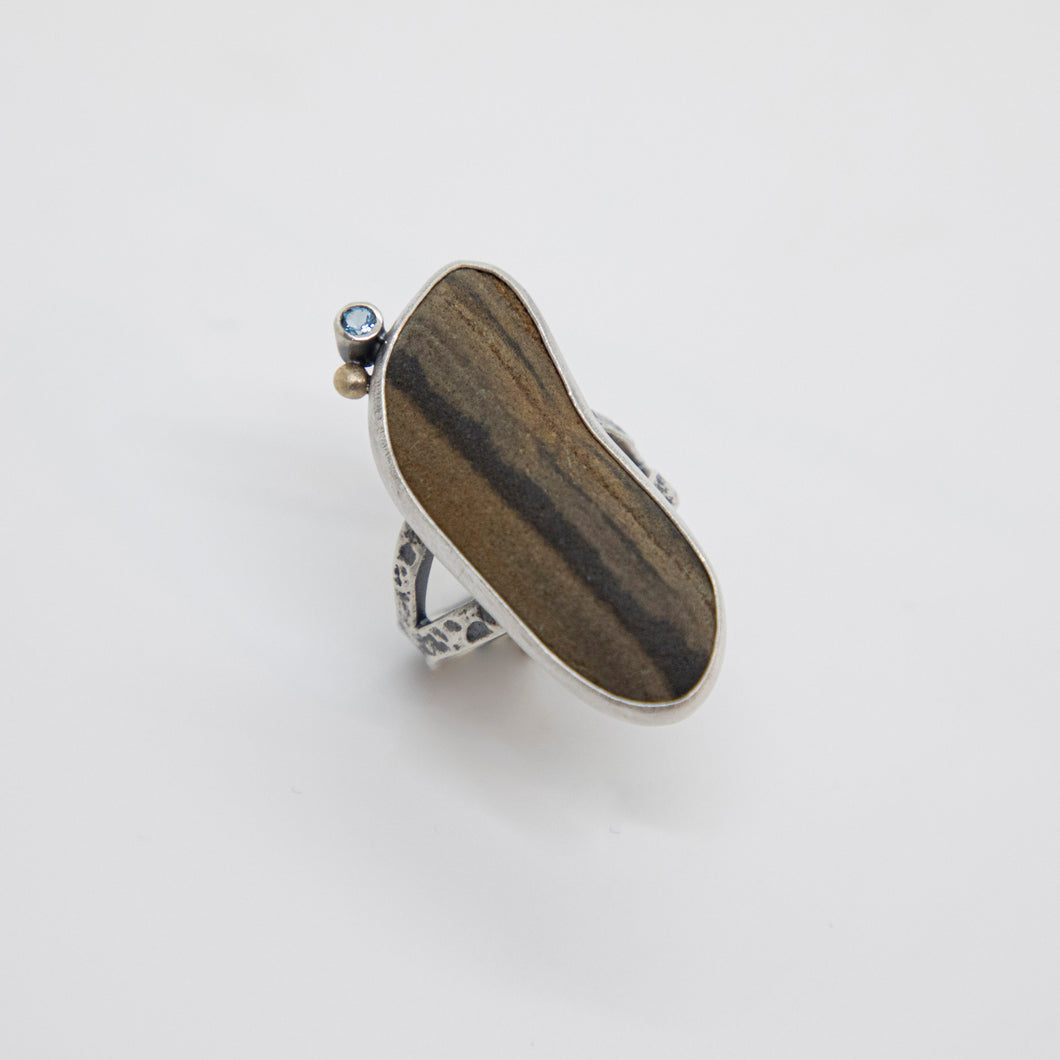 SILVER TREE BARK RIVERSTONE GEM RING