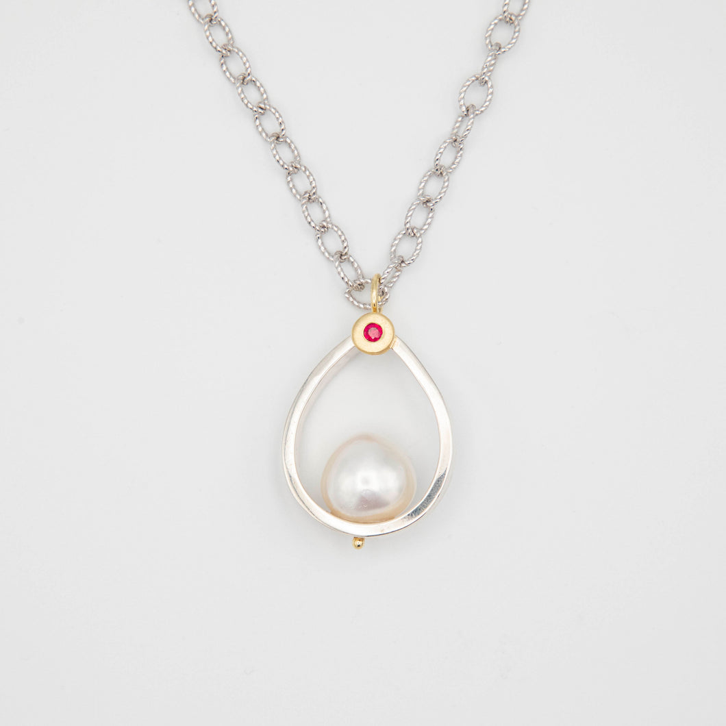 SILVER AND GOLD SOUTH SEA PEARL PENDANT