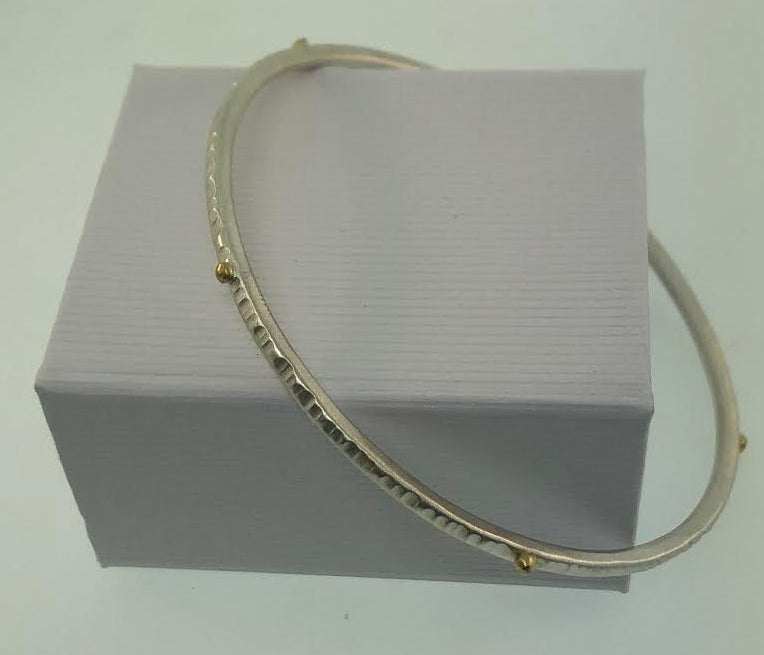 HAND FORGED STERLING SILVER 18K BANGLE