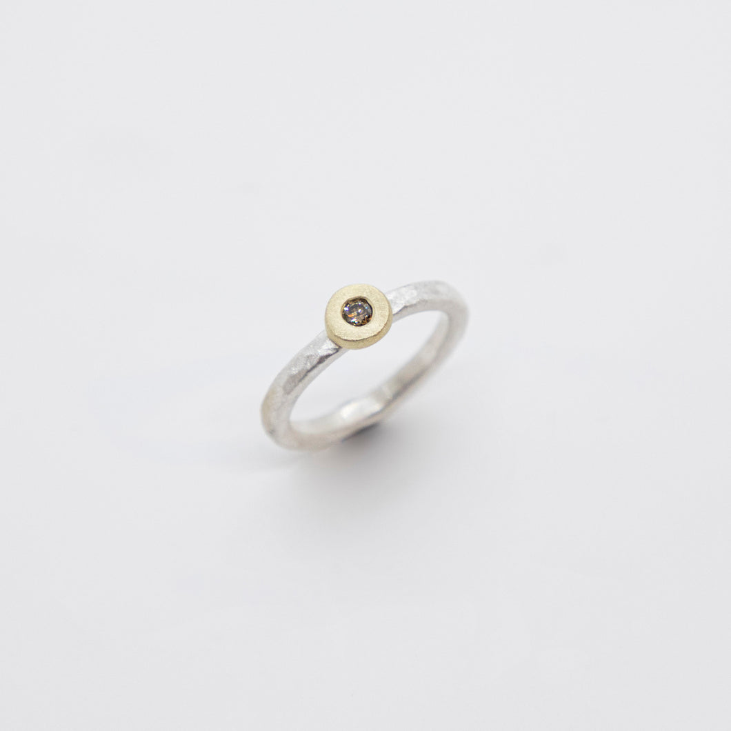 STACK RING WITH CHAMPAGNE DIAMOND