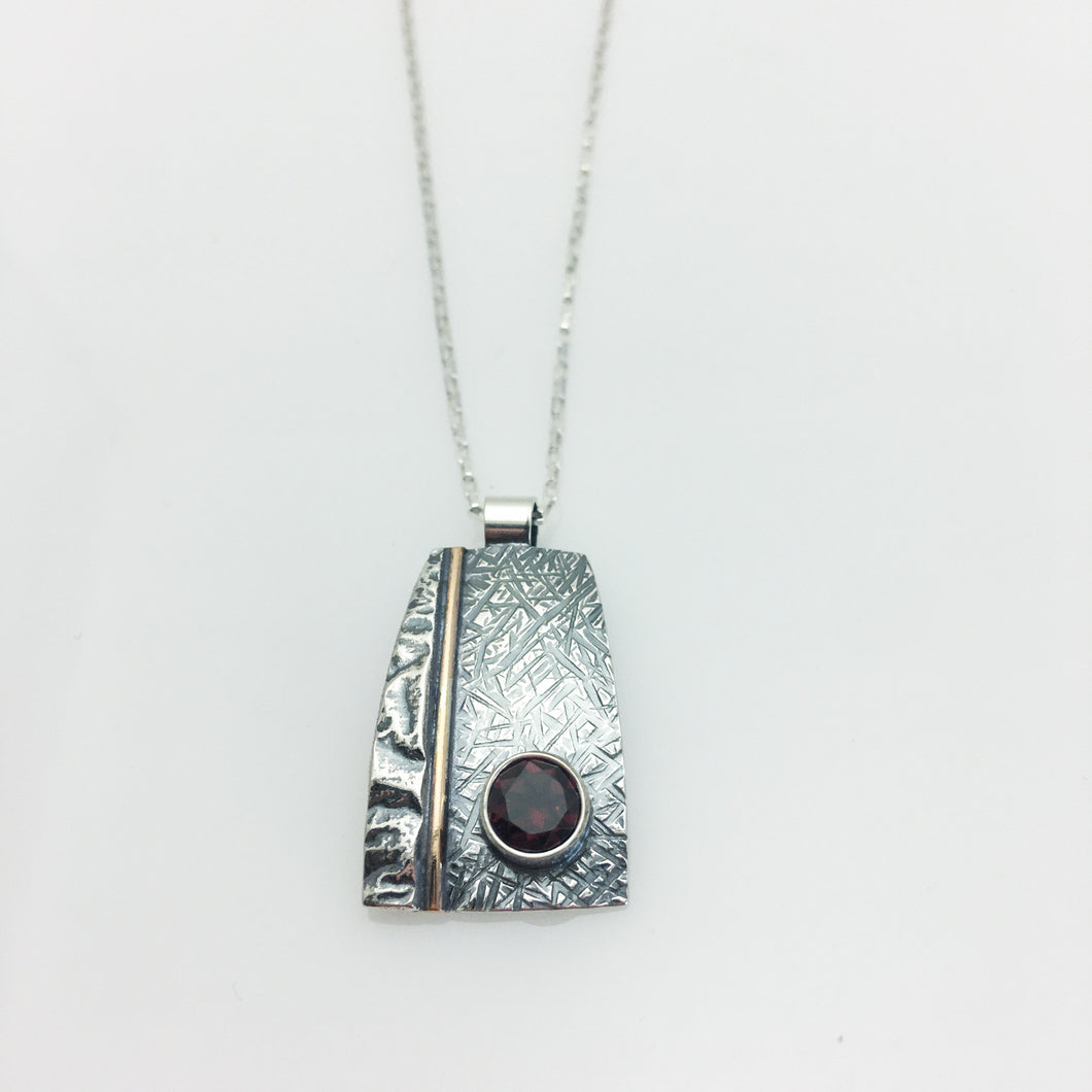 STERLING SILVER 14K GOLD FILLED GARNET PENDANT