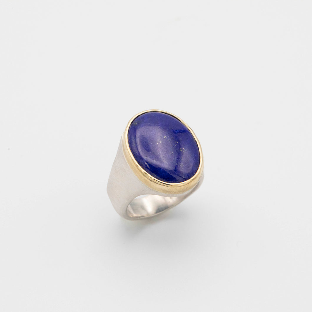 LAPIS SILVER AND 18K GOLD RING