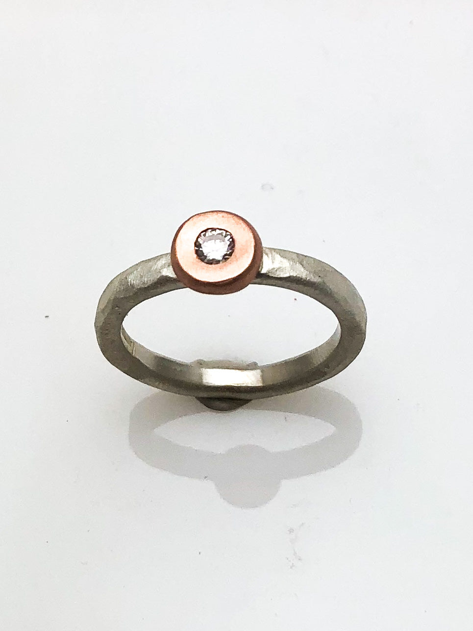 STERLING SILVER/14K ROSE GOLD AND DIAMOND STACK RING