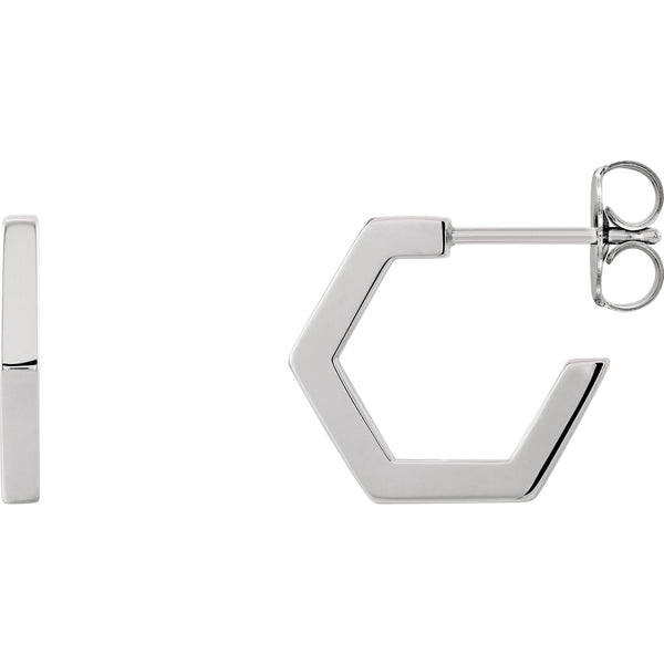 Octagon Huggie Hoop Earrings - 14K Gold