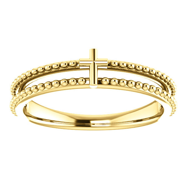 Milgrain Stackable Cross Ring - 14K Gold