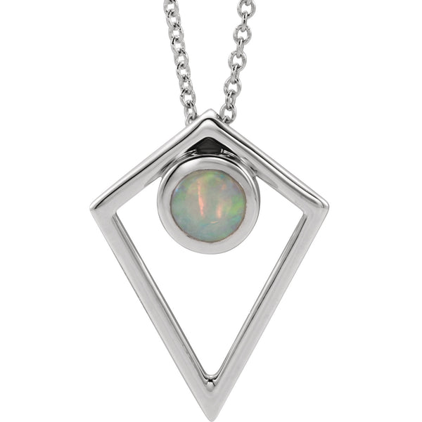 Opal Cabochon Pyramid Necklace - 14K Gold