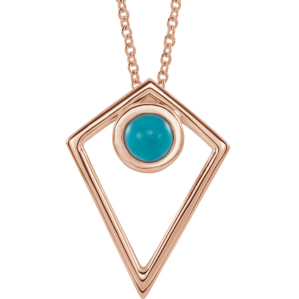 Turquoise Cabochon Pyramid Necklace - 14K Gold