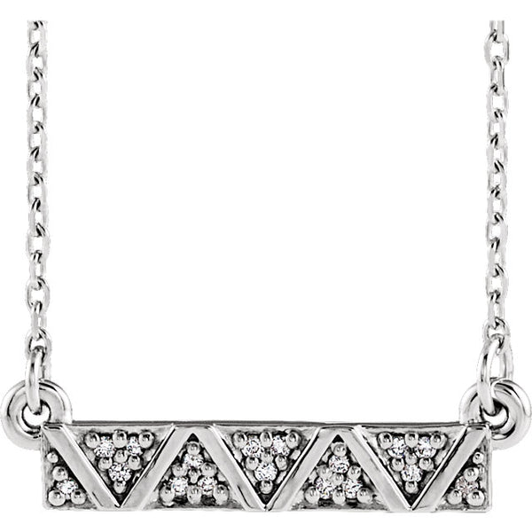Geometric Diamond Bar Necklace - Sterling Silver