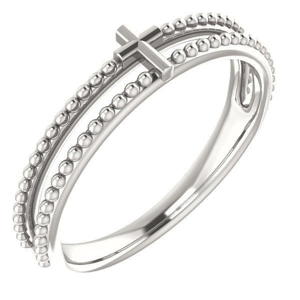 Milgrain Stackable Cross Ring - Sterling Silver