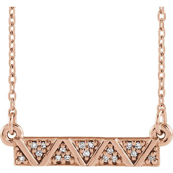 Geometric Diamond Bar Necklace - 14K Gold