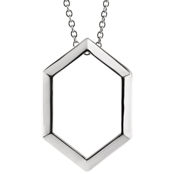 Octagon Pendant Geometric Necklace - Sterling Silver