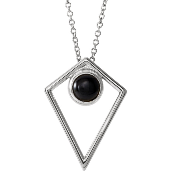 Onyx Cabochon Pyramid Necklace - Sterling Silver
