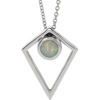 Opal Cabochon Pyramid Necklace - Sterling Silver