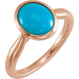 Oval Cabochon Ethiopian Opal Ring - 14K Rose Gold