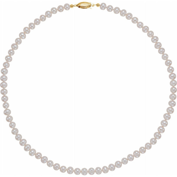 Panache Freshwater Round Cultured Pearl Necklace - 14K Yellow Necklace