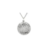 Round St. Christopher Medal Necklace - Sterling Silver