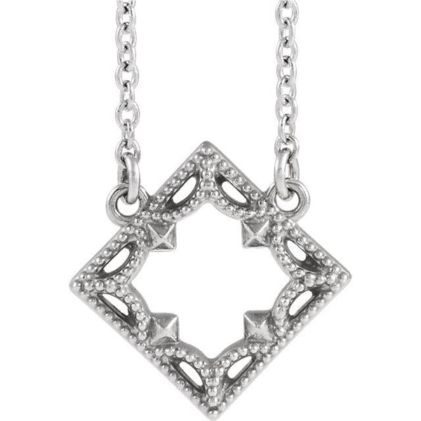 Vintage-Inspired Geometric Necklace - Sterling Silver