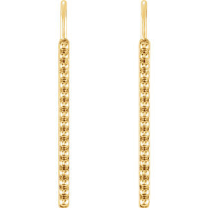 Vertical Trail of Beads Earrings - 14K Gold
