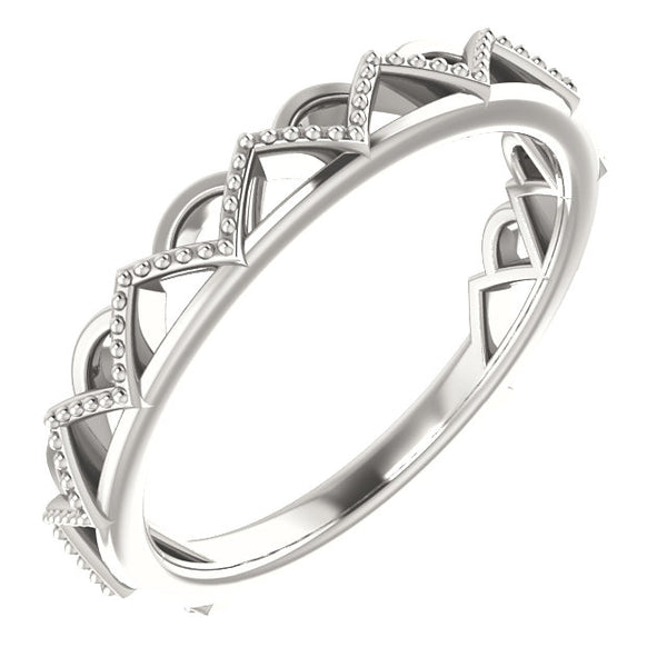 Crown Inspired Stackable Ring - Sterling Silver