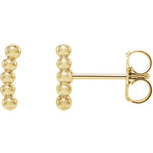 Small Curved Beaded Ear Climber Earrings - 14K Gold & Platinum