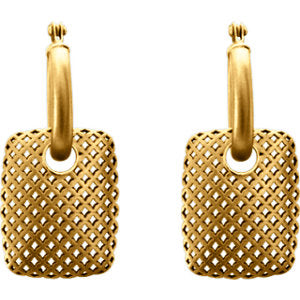 Pierced Rectangular Dangle Hoop Earrings - 14K Gold