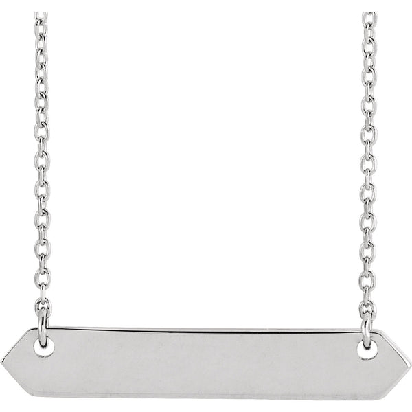 Engravable Bar Necklace - Sterling Silver