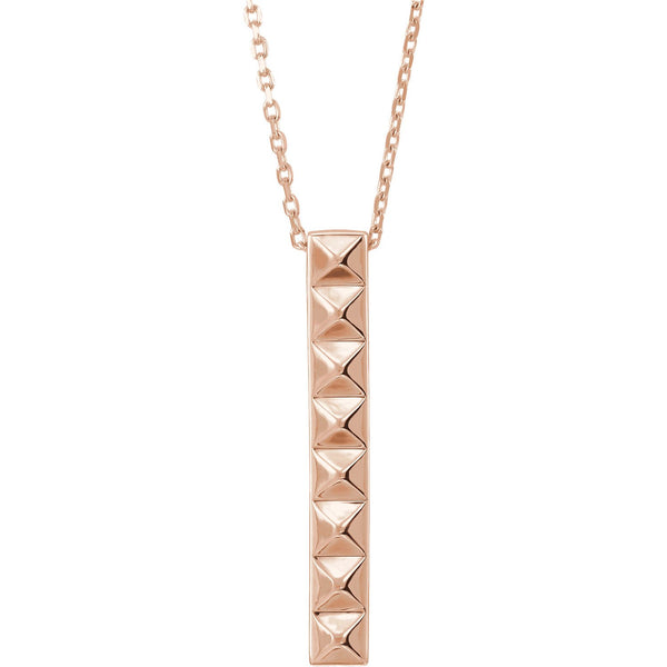 14K Gold Vertical Pyramid Bar Necklace