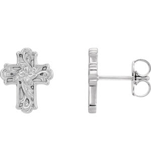 Floral-Inspired Cross Stud Earrings - Sterling Silver