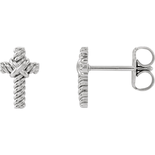 Rope Cross Stud Earrings - 14K Gold