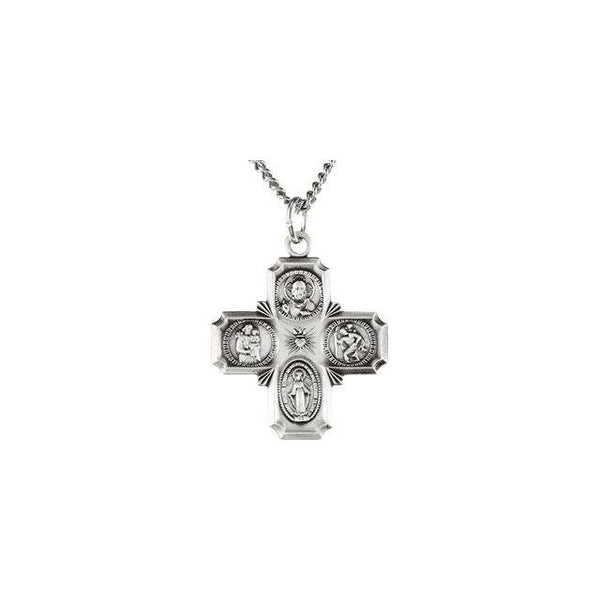 Four-Way Cross Medal Necklace in Sterling Silver