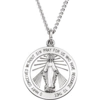 Round Miraculous Medal Necklace - Sterling Silver