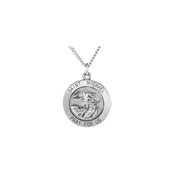 Round St. Michael Medal Necklace  Sterling Silver