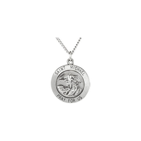 Round St. Michael Medal Necklace in Sterling Silver