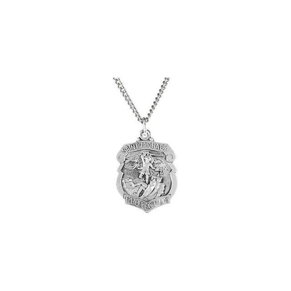 Badge Shaped St. Michael Medal Necklace in Sterling Silver