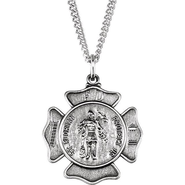 St. Florian Medal Necklace in Sterling Silver